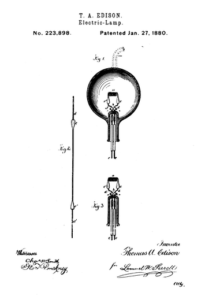 U.S. Patent No. 223,898 issued to Thomas Edison, 1880.