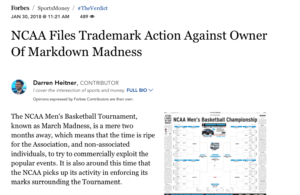 NCAA Files Trademark Action Against Owner of Markdown Madness