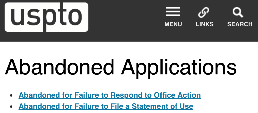 Trademark Application Abandonment for Failure to Respond to Office Action