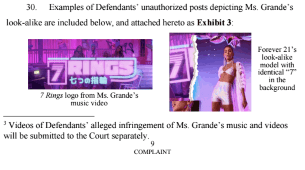 Intellectual property infringement lawsuit Ariana Grande vs. Forever 21 - L.A. Tech and Media Law Blog